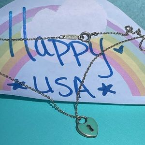 Tiffany & Co blue heart lock necklace